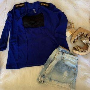 Blue Blazer With Shoulder Stud Detail